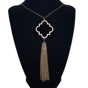 Quatrefoil Tassel Chain Long Necklace